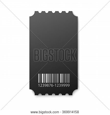 Black Movie Ticket Stub - Isolated Realistic Coupon Mockup