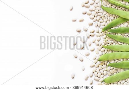 Uncooked Dried White Haricot Beans With Fresh Raw Green Beans Pod Plant Isolated On White Background