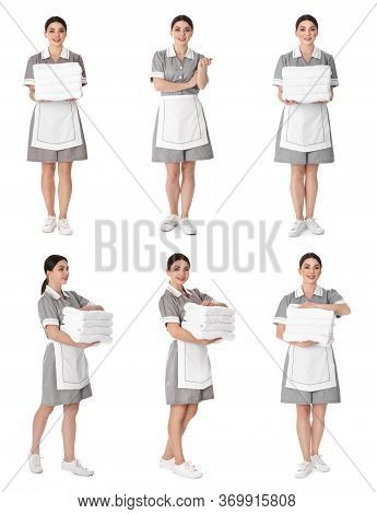 Collage With Photos Of Chambermaid On White Background
