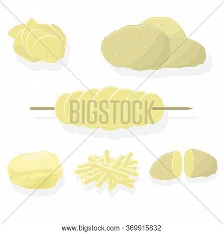 Fry Chips And Potato Set On White Background. Whole, Slices, Half, Lobule, Circle Potatoes. Tasty Ve
