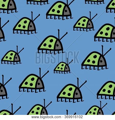 Seamless Pattern Unusual Green Bugs Ladybug With Black Mustache And Spots On A Blue Background