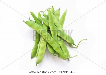 Fresh Raw Green Beans Pod Plant Isolated On White Background. Heap Of Legume Haricot Bean ( Phaseolu