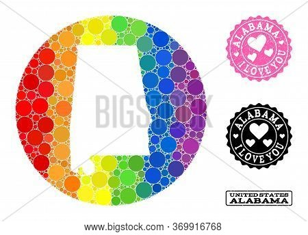 Vector Mosaic Lgbt Map Of Alabama State With Spheric Blots, And Love Watermark Seal. Stencil Round M