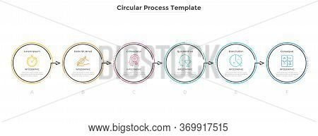 Horizontal Diagram With 6 Circular Elements Connected By Arrows. Concept Of Six Successive Stages Of