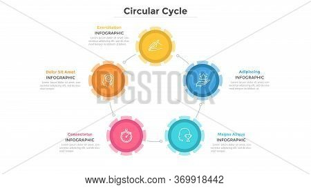 Round Chart With 5 Colorful Circular Elements Connected By Lines, Linear Pictograms And Text Boxes.