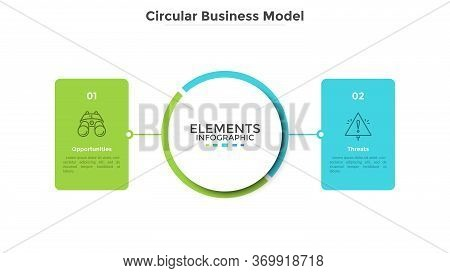 Business Model With 2 Rectangular Elements Or Cards Connected To Main Central Circle. Concept Of Bus