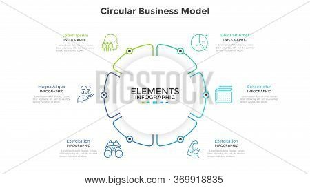 Round Paper White Pie Chart Divided Into 6 Parts Or Sectors. Circular Business Model With Six Option