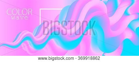 3d Poster. Liquid Color. Fluid Background. Pink Design. Abstract Flow. Vibrant Color. Pink Poster. C