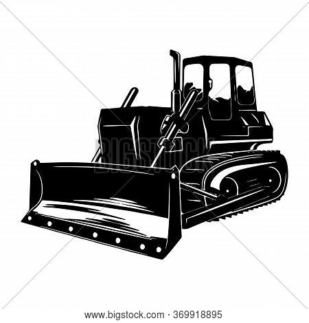 Vector Detailed Silhouette Of Bulldozer Isolated On Transparent Background. Black And White Vehicle