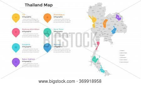 Thailand Map Divided Into Provinces And Administrative Areas. Country Map With Indication Of Territo