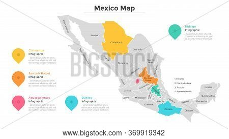 Mexico Map Divided Into Regions Or States. Territory Of Country With Regional Borders, Geographical