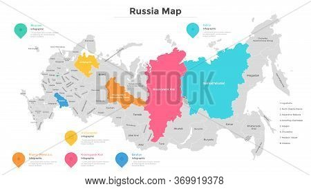 Russia Map Divided Into Federal Subjects Or Regions. Geographic Division Of Russian Federation With