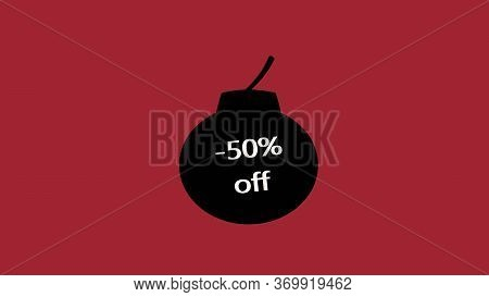 50% Off Sale Promo Banner Special Offer Sticker. Sale Campaign Red Price Tag. Discount 50%. 3d Image