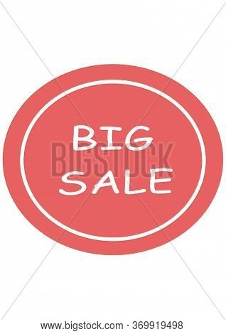 Big Sale. Pink Round Sign For Fasting. Abstract Advertising Promotion Banner.