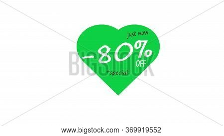 80% Percent Off Sale Promo Banner Special Offer Sticker. Sale Campaign Yellow Price Tag. Discount 80