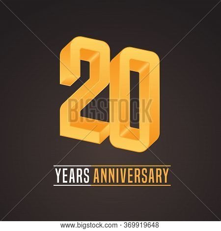 20 Years Anniversary Vector Icon, Logo. Isolated Graphic Number For 20th Anniversary