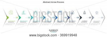 Eight Paper White Overlapping Arrows Placed In Horizontal Row. Concept Of 8 Successive Steps Of Prog