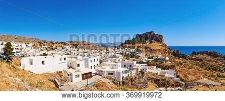 View Of The Village Of Lindos With The Acropolis On The Hill.rhodes, Island, Greece