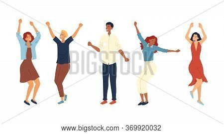 Dance Party Concept. Group Of Fashion People Are Dancing Together. Satisfied Characters In Different