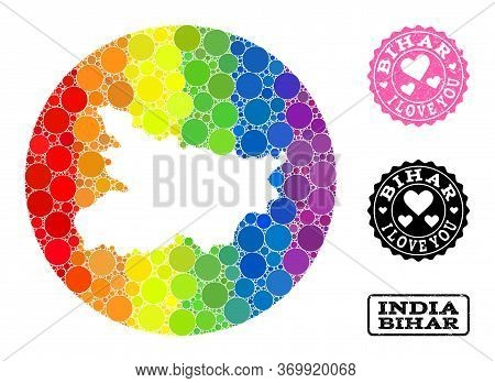 Vector Mosaic Lgbt Map Of Bihar State With Circle Spots, And Love Rubber Seal. Hole Circle Map Of Bi