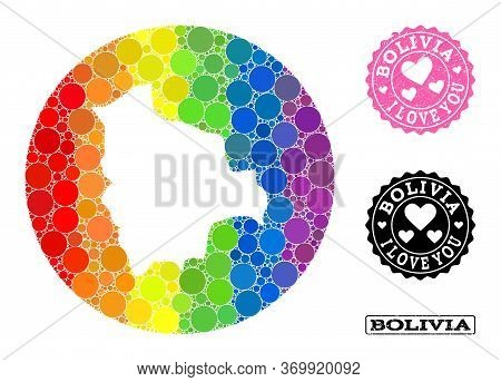 Vector Mosaic Lgbt Map Of Bolivia With Spheric Dots, And Love Watermark Seal. Hole Circle Map Of Bol
