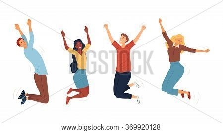 Set Of Jumping Happy People. Young Funny Teens Boys And Girls Jumping Together. Joy Lifestyle And Sy