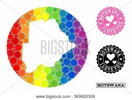 Vector Mosaic Lgbt Map Of Botswana From Round Elements, And Love Watermark Stamp. Hole Circle Map Of