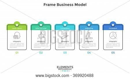 Diagram With Five Cards Or Rectangular Frames Placed In Horizontal Row. Business Model With 5 Stages