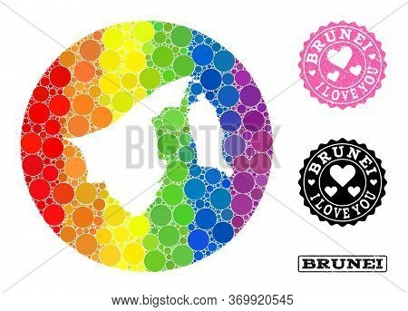 Vector Mosaic Lgbt Map Of Brunei From Circle Dots, And Love Grunge Stamp. Stencil Circle Map Of Brun