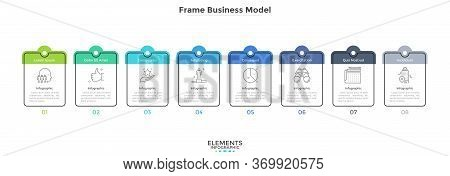 Diagram With Eight Cards Or Rectangular Frames Placed In Horizontal Row. Business Model With 8 Stage