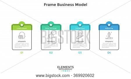 Diagram With Four Cards Or Rectangular Frames Placed In Horizontal Row. Business Model With 4 Stages