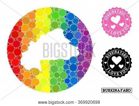 Vector Mosaic Lgbt Map Of Burkina Faso With Round Elements, And Love Rubber Stamp. Subtraction Circl
