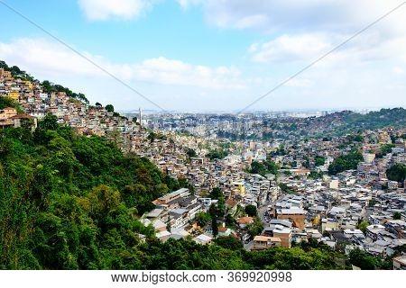 Favela On A Hill Of Rio De Janeiro Brazil