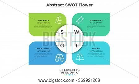 Swot Abstract Flower Chart With 4 Colorful Petals. Modern Diagram For Analysis Of Companys Advantage