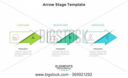 Progress Bar With 3 Colorful Arrows Placed In Horizontal Row. Concept Of Three Successive Phases Of