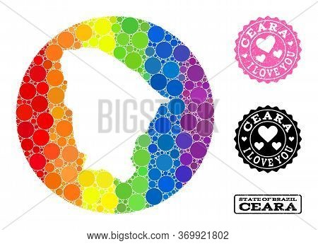 Vector Mosaic Lgbt Map Of Ceara State From Spheric Elements, And Love Rubber Stamp. Subtraction Circ