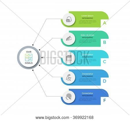 Flowchart With 5 Round Paper White Elements Connected To Main Circle. Concept Of Five Main Business