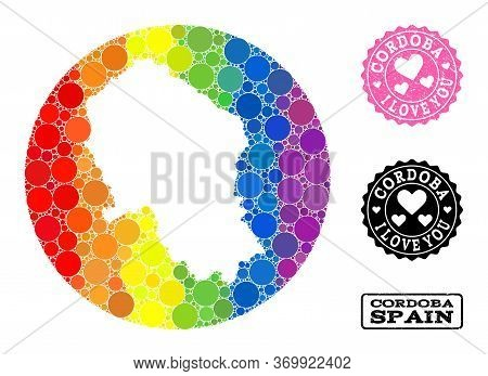Vector Mosaic Lgbt Map Of Cordoba Spanish Province With Round Blots, And Love Watermark Stamp. Hole