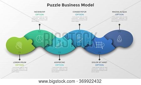 Modern Timeline Made Of 6 Colorful Connected Jigsaw Puzzle Pieces. Concept Of Strategic Plan With Si