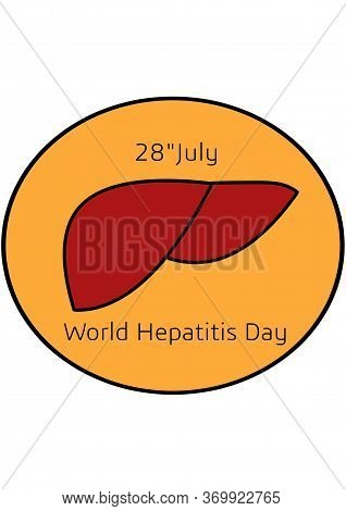 World Hepatitis Day, Liver Filled Outline Icon, Medicine And Healthcare, Human Organ Sign, A Colorfu