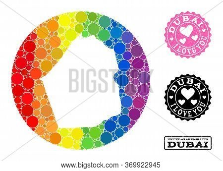 Vector Mosaic Lgbt Map Of Dubai Emirate With Circle Spots, And Love Grunge Seal Stamp. Hole Round Ma