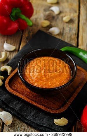 Red Bell Pepper Cashews Sauce In A Bowl