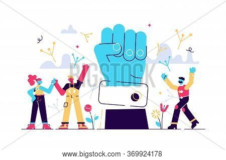 Freedom Vector Illustration. Flat Tiny Independence Crowd Person Concept. Abstract Fist, Birds Wings