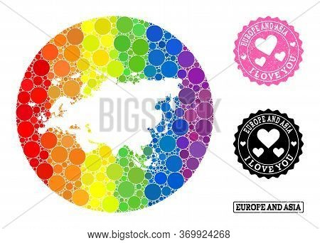 Vector Mosaic Lgbt Map Of Europe And Asia From Round Spots, And Love Watermark Stamp. Stencil Round