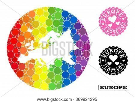 Vector Mosaic Lgbt Map Of Europe With Round Blots, And Love Grunge Stamp. Hole Round Map Of Europe C