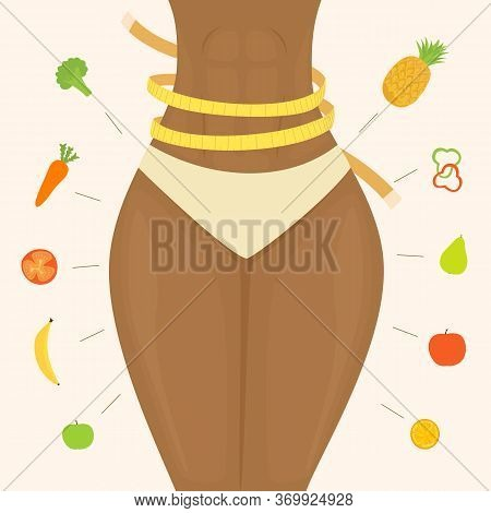 Healthy Lifestyle Theme. Slim Women's Waist With A Yellow Measuring Tape. Diet And Healthy Eating. F
