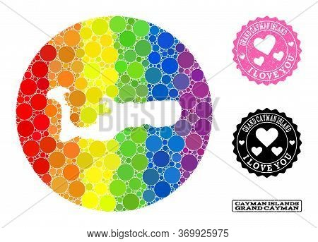 Vector Mosaic Lgbt Map Of Grand Cayman Island From Circle Elements, And Love Grunge Seal Stamp. Subt