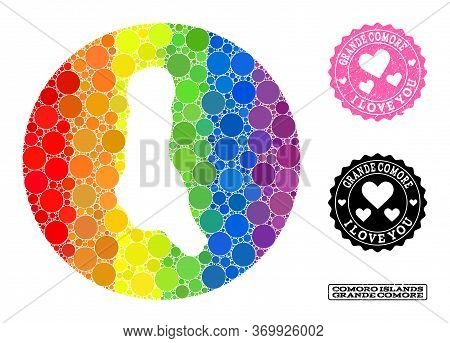 Vector Mosaic Lgbt Map Of Grande Comore Island With Round Blots, And Love Rubber Seal Stamp. Hole Ci