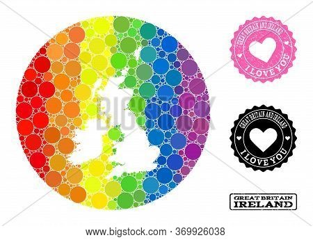 Vector Mosaic Lgbt Map Of Great Britain And Ireland With Round Items, And Love Watermark Seal Stamp.