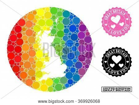 Vector Mosaic Lgbt Map Of Great Britain With Round Blots, And Love Scratched Seal. Hole Round Map Of